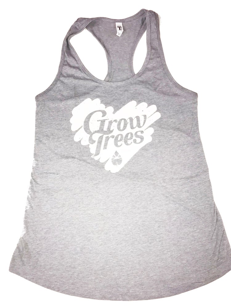 Image of Grow Trees Women's Tank Top (Heather Gray with White Heart)