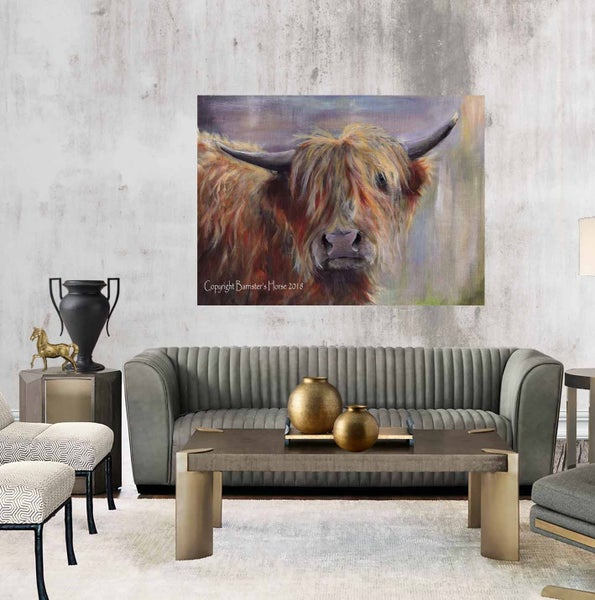 Image of THE BLONDE BOMBSHELL, HIGHLAND COW, CHUNKY CANVAS WRAPS