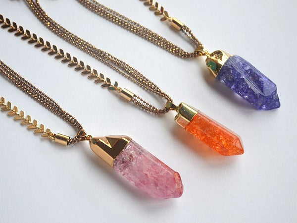 Image of crackle crystal pendants