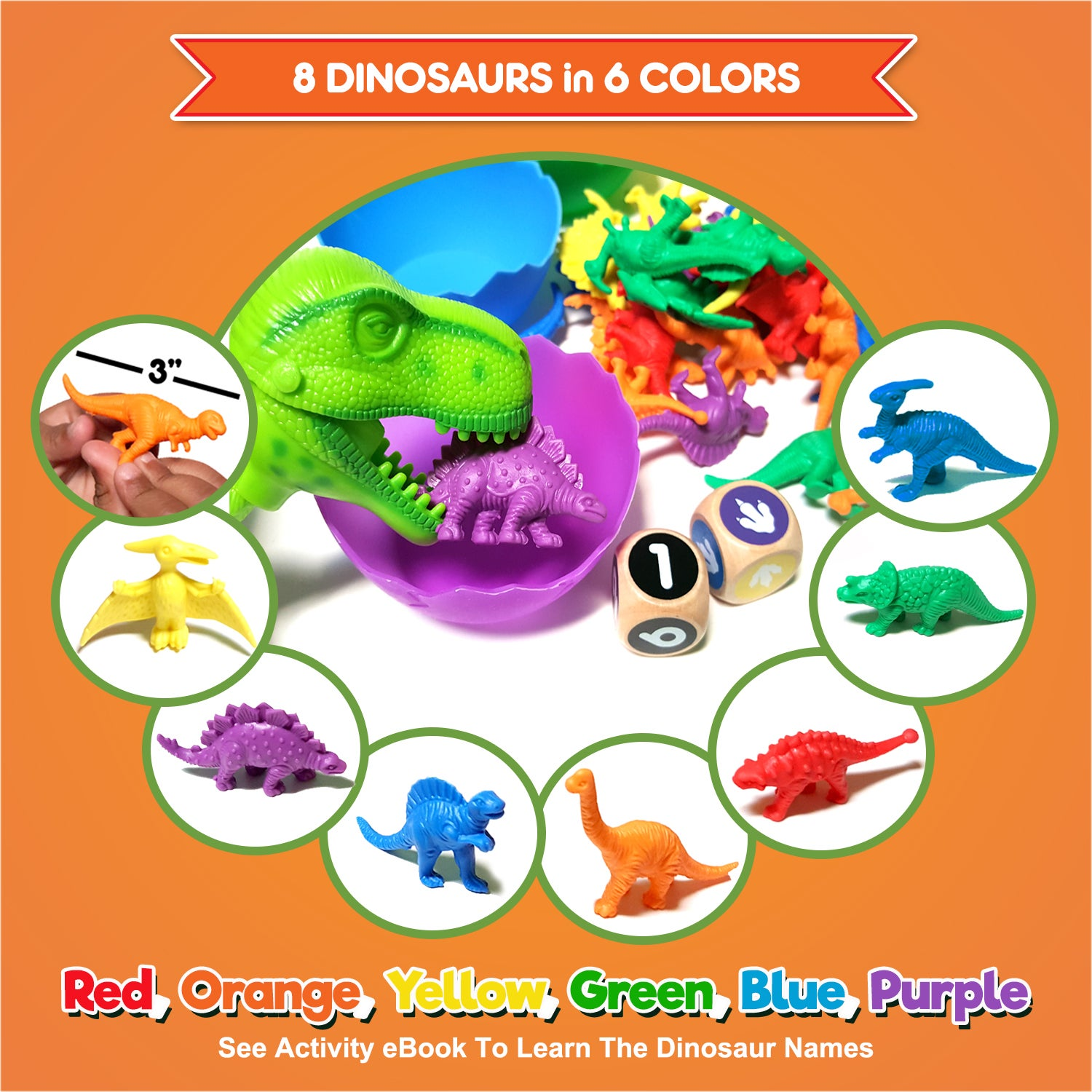 Counting Dinosaurs with Matching Sorting Cups Educational Cards Color Sorting and Counting Activity Set Fine Motor Skills Games Pre-School STEM Learning Toys for Kids Toddlers 2 3 4 5 Years