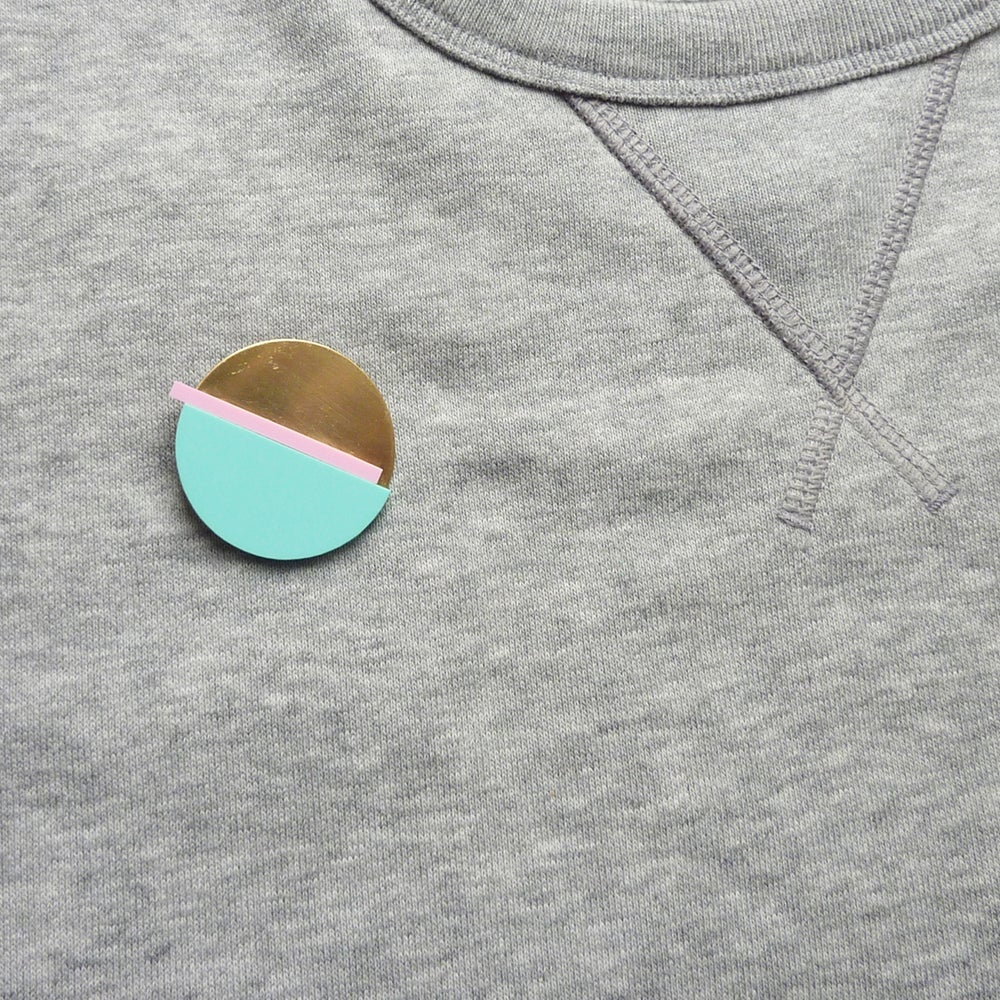 Image of Horizon Brooch Mint & Pink