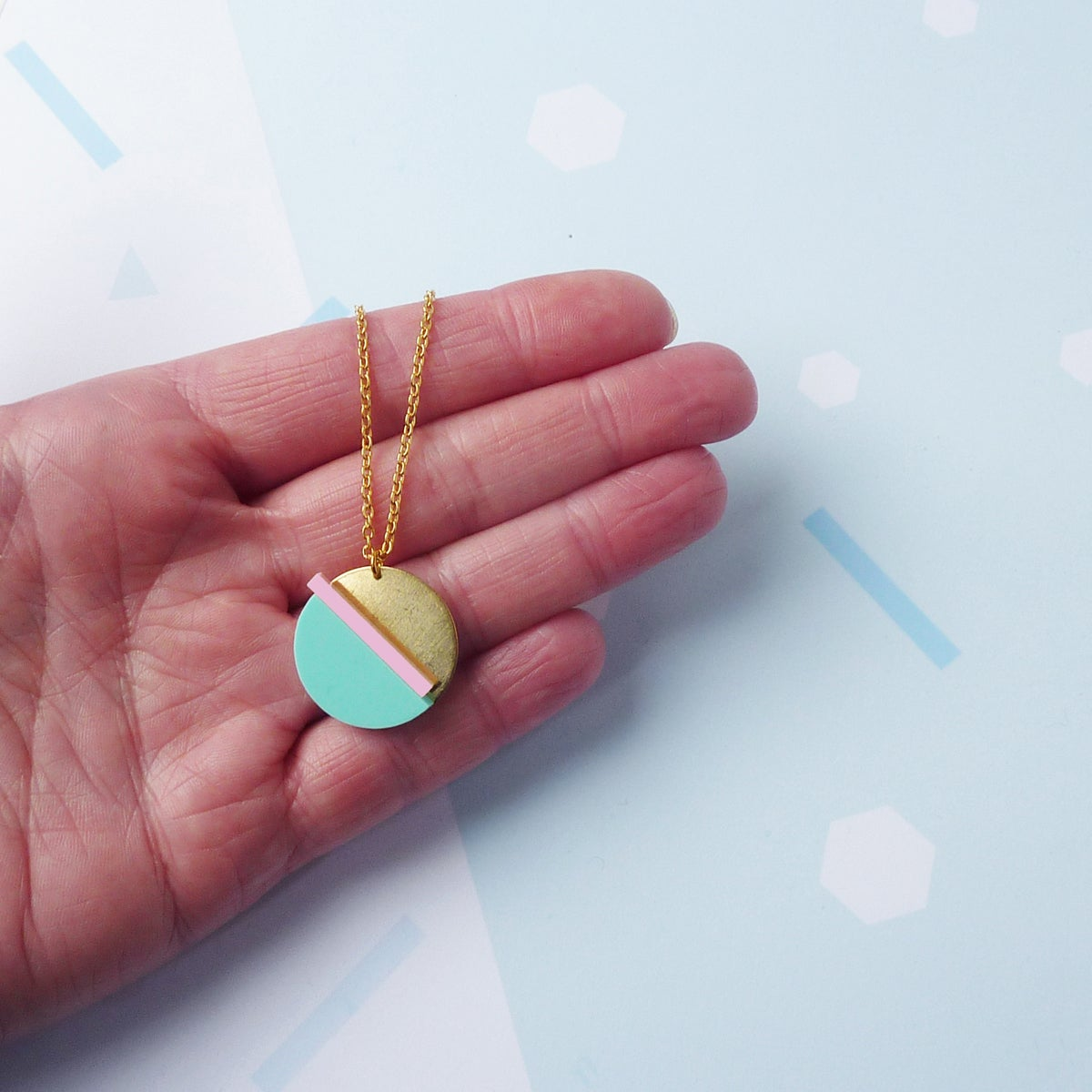 Image of Horizon Necklace Mint & Pink