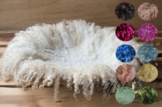 Image of PRE ORDER All sizes/ colours. Curly Fringe Felted Prop. Newborn Photography Posing Layer. Felt napki