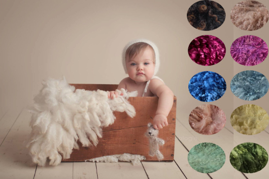 Image of PRE ORDER All sizes. Fluffy Fur Felted Rug. Newborn Photography Posing Prop. Natural Cream, Brown or