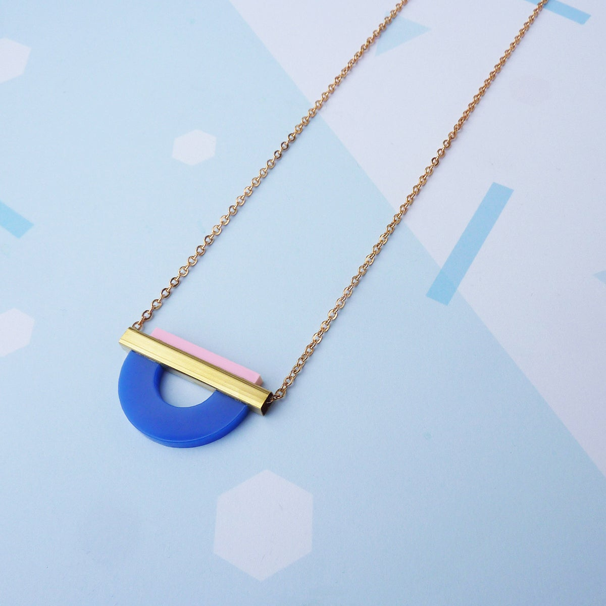 Image of Drop Curve Necklace French Navy & Pink