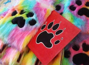 Image of Rainbow Handmade Furry Slipcase and signed At Home With The Furries book