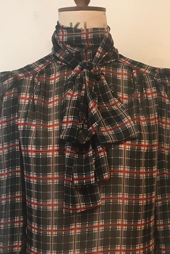 Image of Tartan Chiffon tie neck blouse