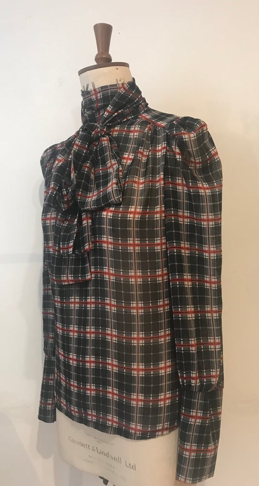 Image of Tartan Chiffon tie neck blouse