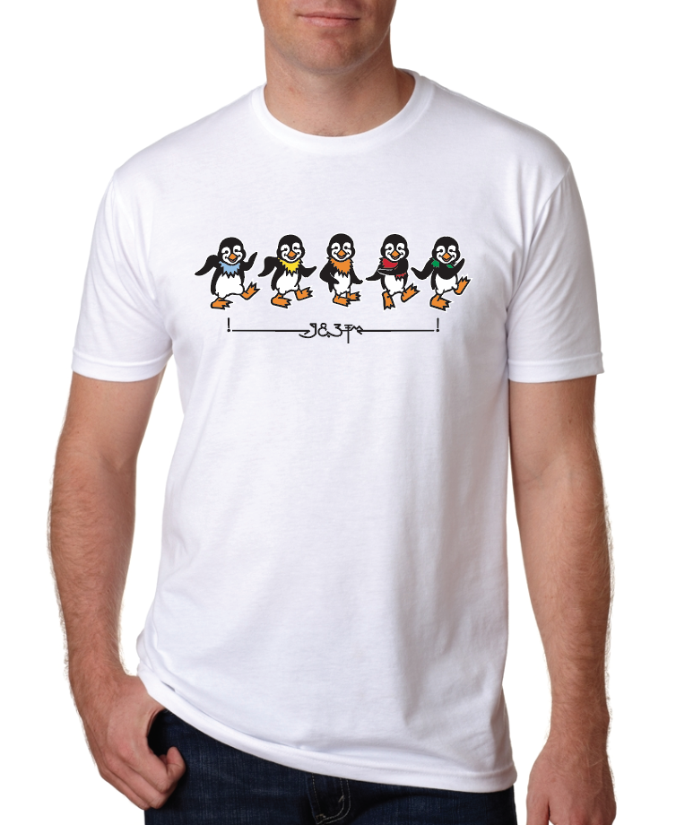 "Image of Men's ""Dancin' Penguins"" t-shirts - white & black"