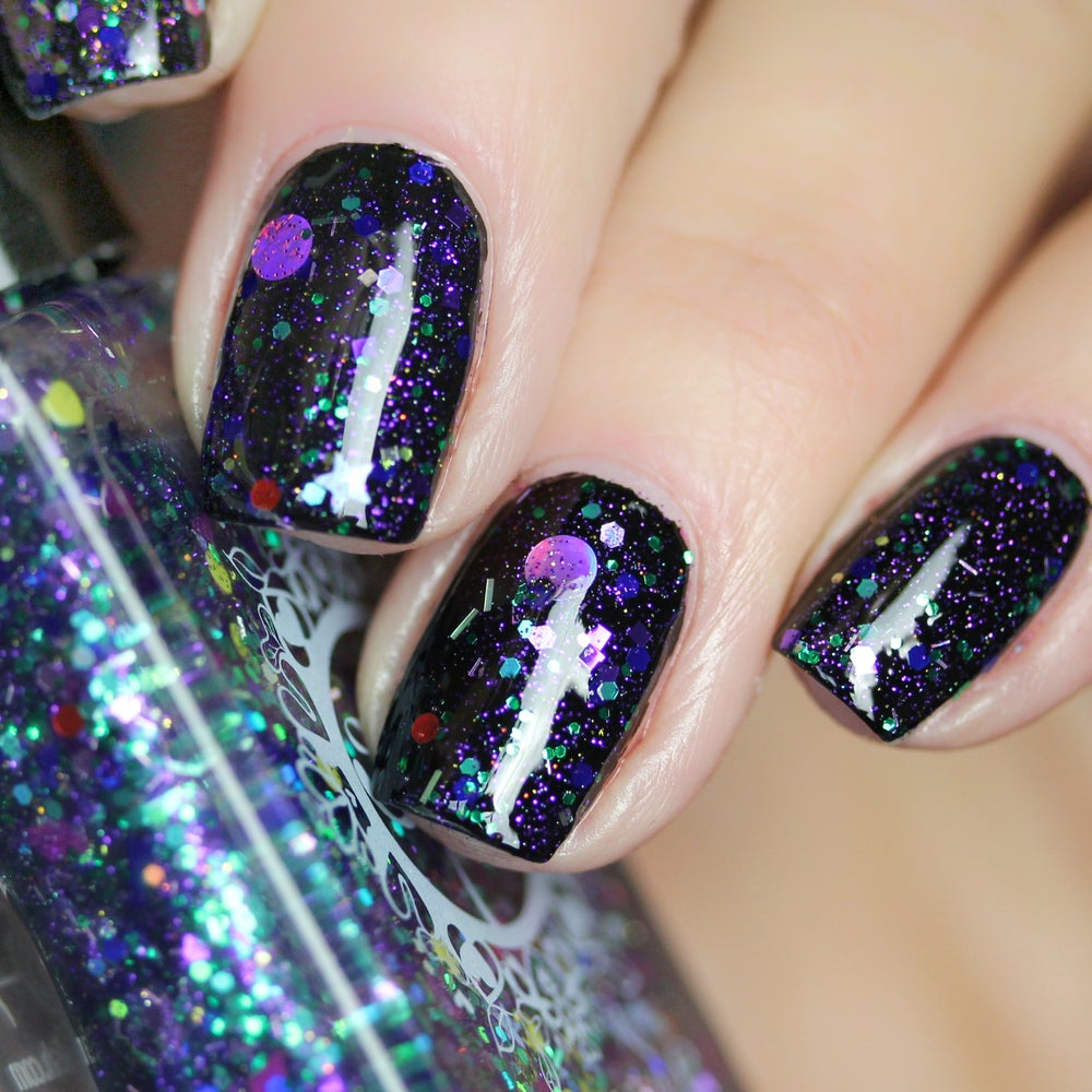 Image of ~Aurora Borealis~ glitter top coat w/purple, green, red and pink glitters featuring dots & diamonds!