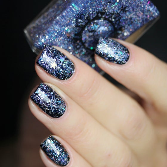 Image of ~Winter Wonderland~ glitter top coat w/silver periwinkle & holo glitters featuring diamonds & stars