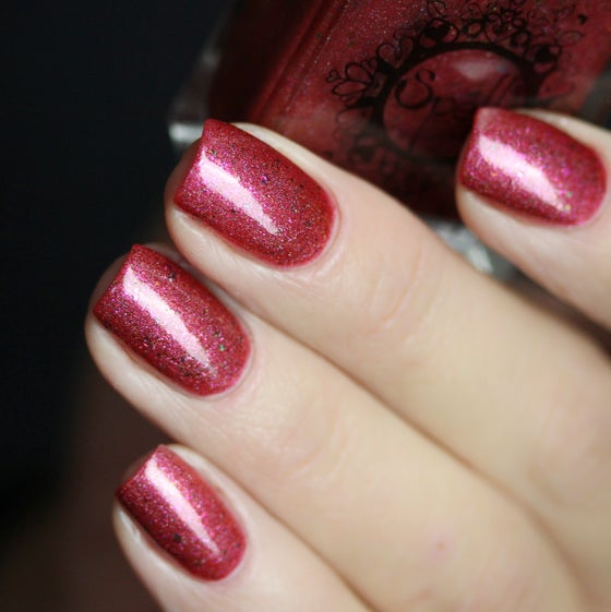Image of ~Amaryllis~ is a red base w/multichrome flakes, scattered holo and pink shimmer!