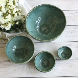 Image of Mixing Bowls, Set of Four Green Stoneware Pottery Bowls Handcrafted Made in USA
