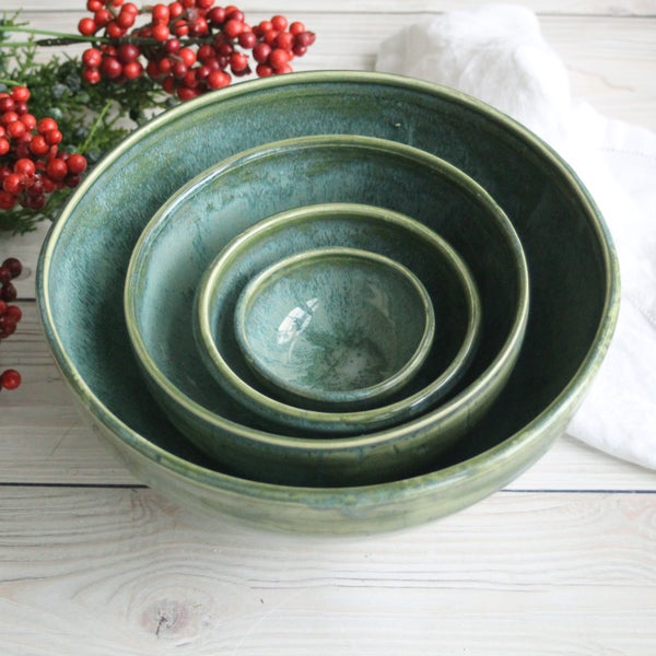 Image of Rustic Stoneware Nesting Set of Four Pottery Bowls in Green Glaze Made in USA