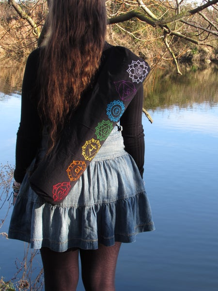 Image of Multi-Colour Embroided 'Chakra' Yoga / Pilates Mat Bag with Zip