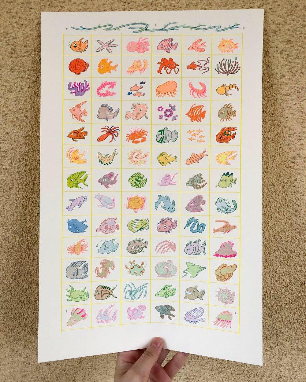Image of Fish Grid Print