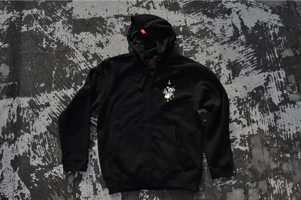 "Image of ""We All Suffer The Same"" Black ZipUp Hoodie"