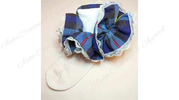 Image of Blue Plaid School Socks