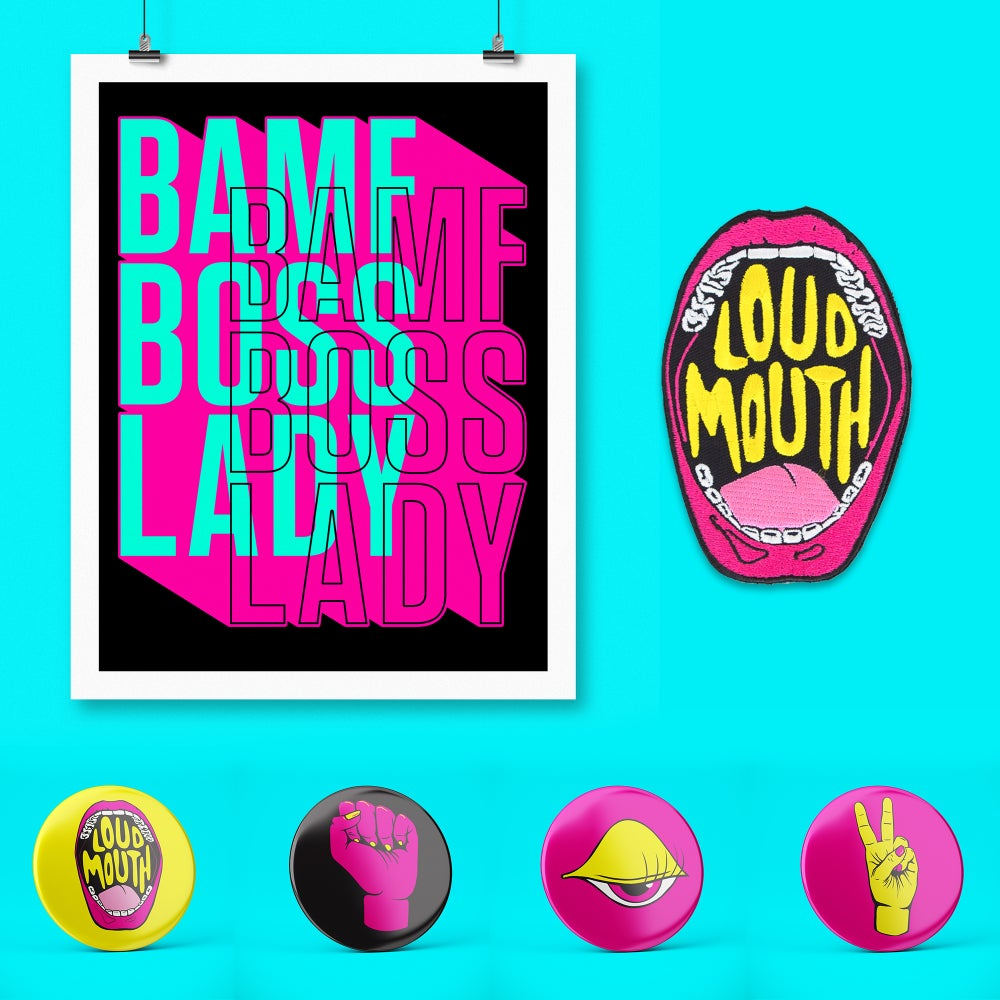Image of BOSS LADY BUNDLE — print + patch + button pack