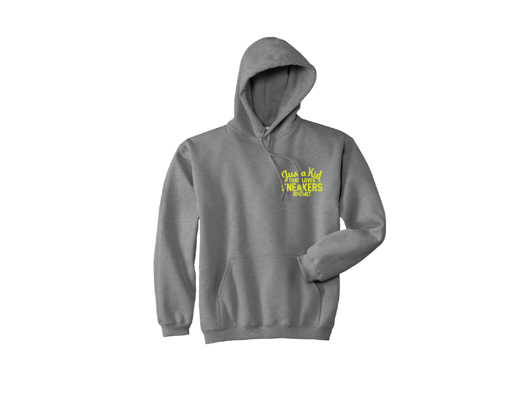 "Image of JUST A KID THAT LOVES SNEAKERS EMBROIDERY ""NEON YELLOW"" HOODY"