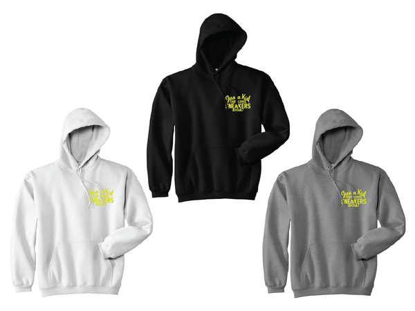 """Image of JUST A KID THAT LOVES SNEAKERS EMBROIDERY """"NEON YELLOW"""" HOODY"""
