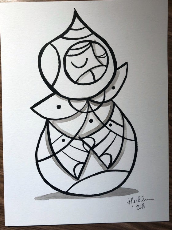 Image of Weeble #1 Original Brush/Ink Sketch