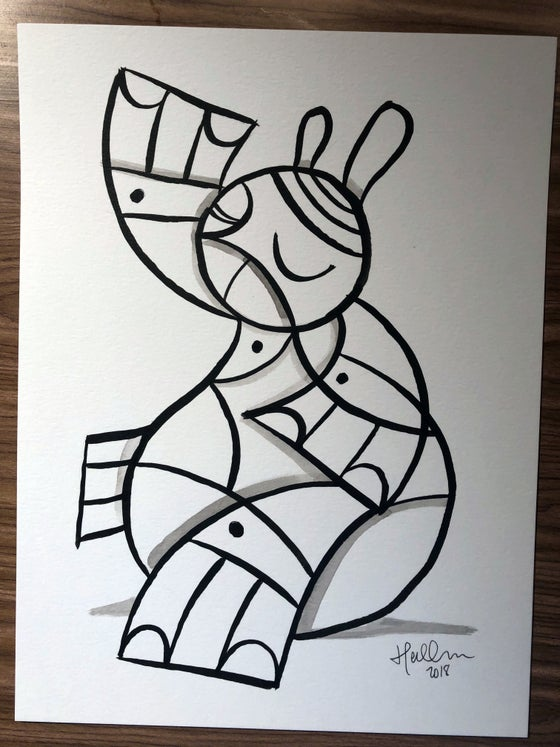 Image of Weeble #2 Original Brush/Ink Sketch