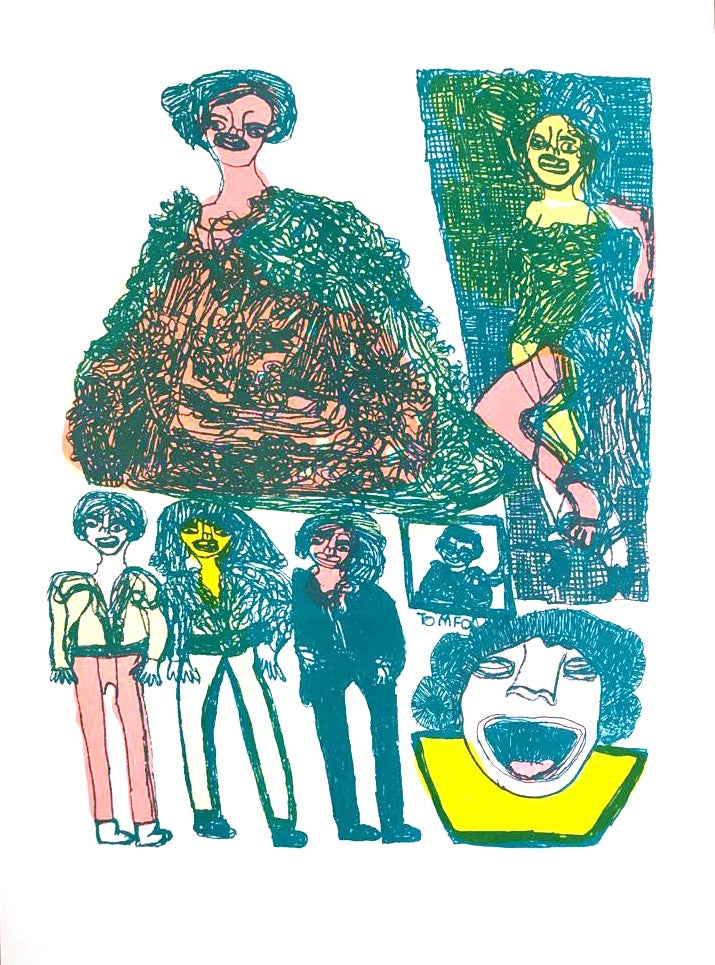 Image of KMAdotcom 'Friday Party' A3 Risograph by Alan Faulds