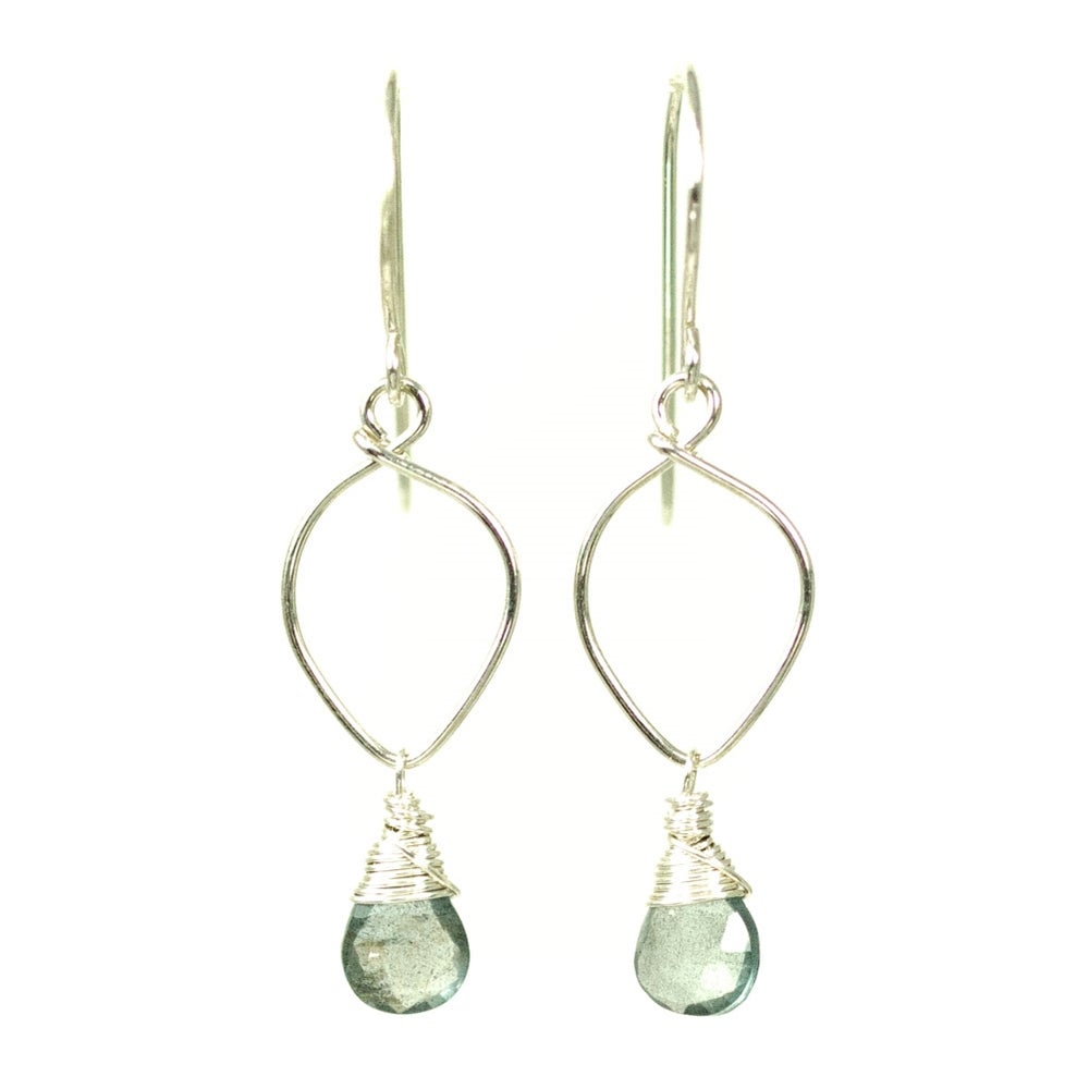 Image of Moss aquamarine earrings sterling silver lotus loop v2