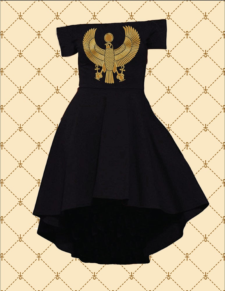 Image of GOLD HRU OFF SHOULDER HI/LO COCKTAIL DRESS