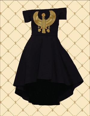 Image of GOLD HRU OFF SHOULDER HI/LO COCKTAIL DRESS