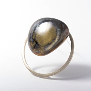 Image of Large Gold + Silver Resin Pebble Brooch