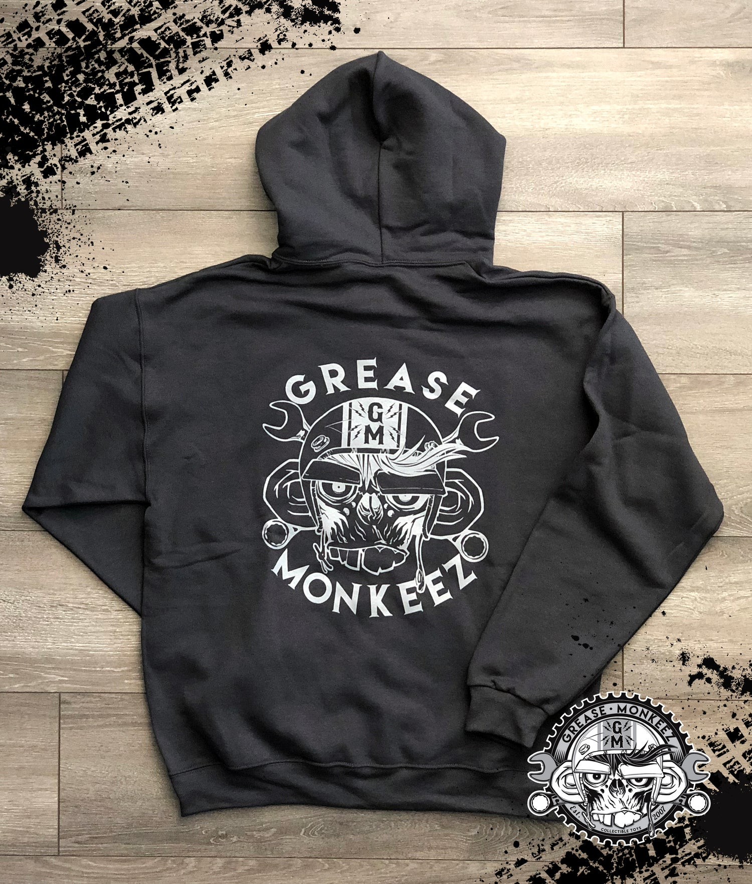 Image of Grease Monkeez - Charcoal Gray Logo Hoodie
