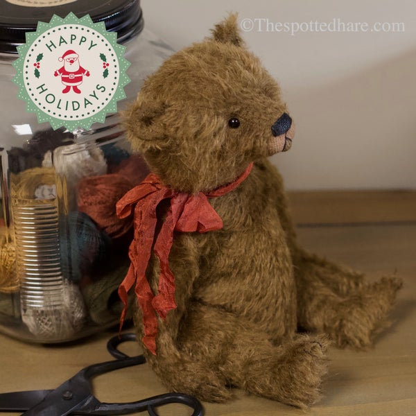 Image of KIT ~ An olde bear ~ CHOCOLATE - mohair -Silk Ribbon as in Gold Bear!