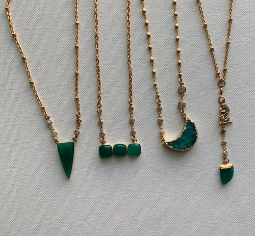 Image of TE FITI • Green Oynx Necklace Set