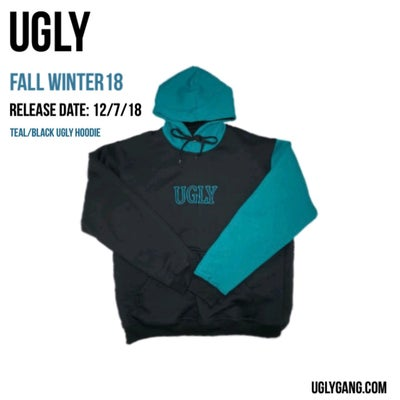 Image of TEAL/BLACK UGLY HOODIE