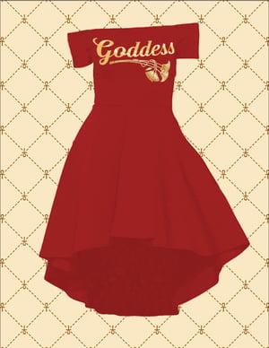 Image of GODDESS OFF SHOULDER HI/LO COCKTAIL DRESS