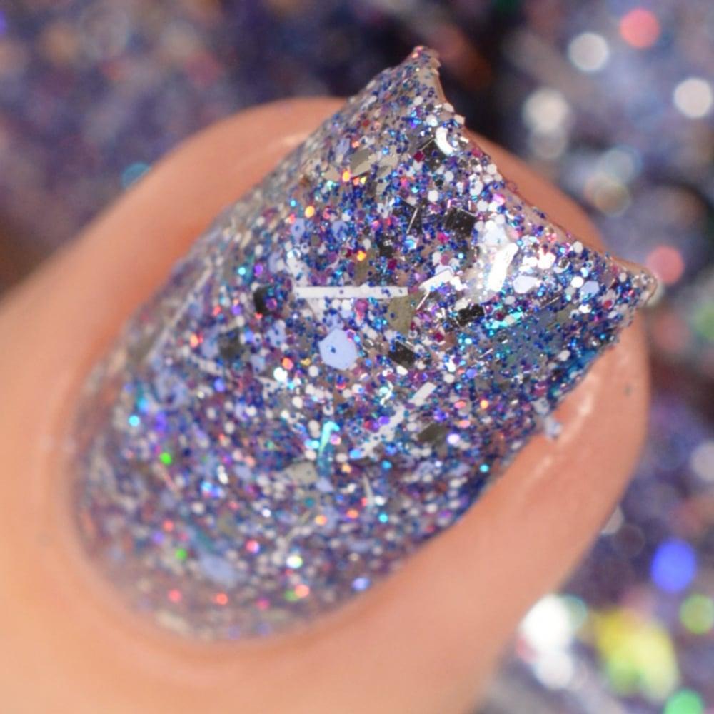 Image of ~Winter Wonderland~ glitter top coat w/silver periwinkle & holo glitters featuring diamonds & stars