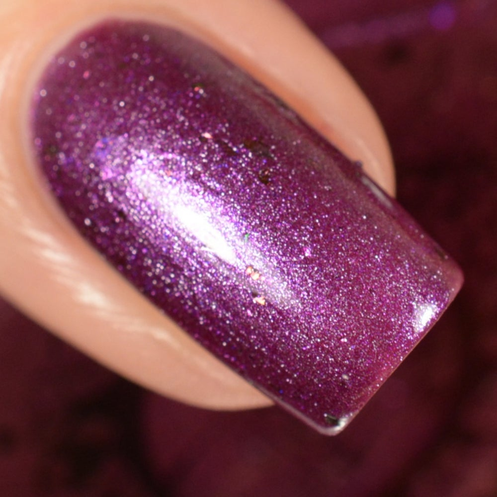 Image of ~Lady Slipper~ is an orchid purple chrome with multichrome and opal flakes!