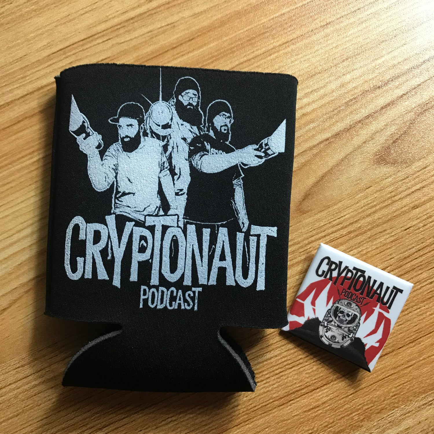 Image of Cryptonaut Podcast Koozie and BONUS PIN!