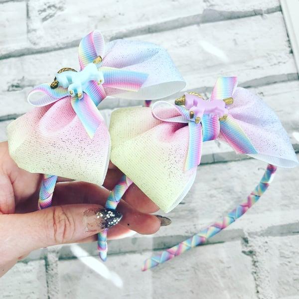 Image of Pastel rainbow unicorn aliceband