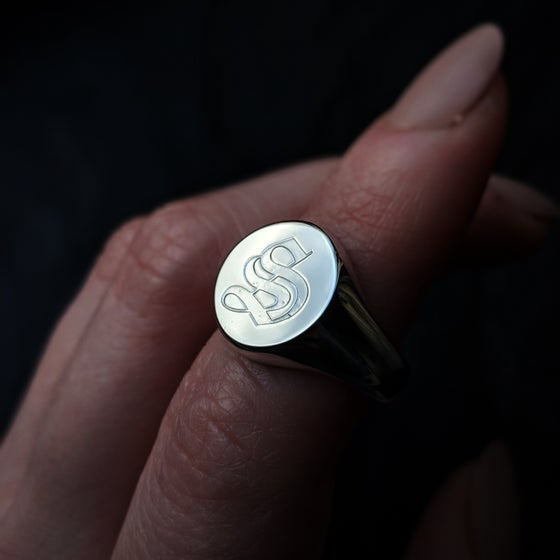 Image of Old English Custom Initial Sterling Silver Signet Ring
