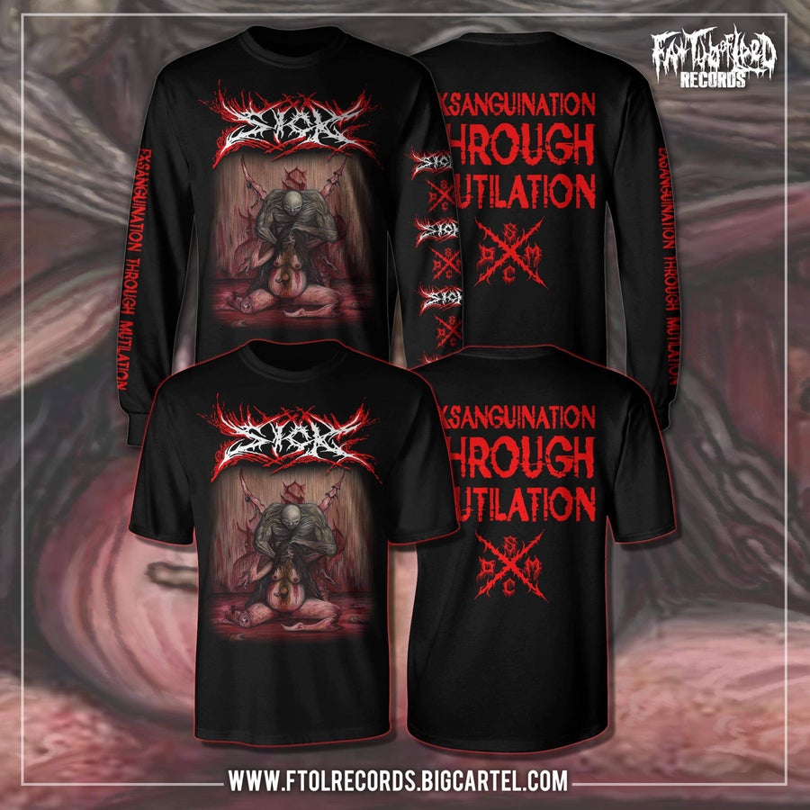 "Image of Officially Licensed Sick ""Exsanguination Through Mutilation"" Short and long sleeve shirts!!"