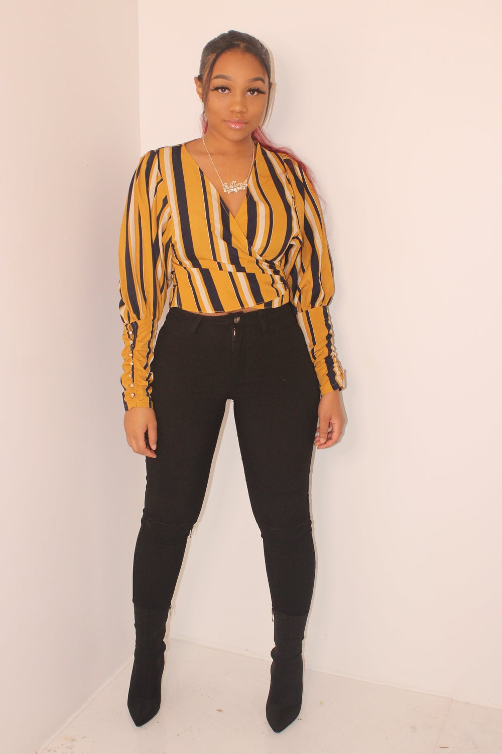 Image of Stripe tie up blouse