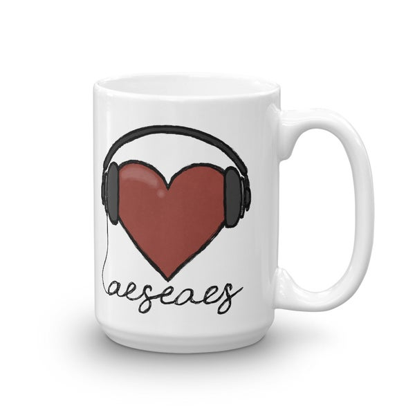 Image of Heart with Headphones Mug - Large (15 oz)
