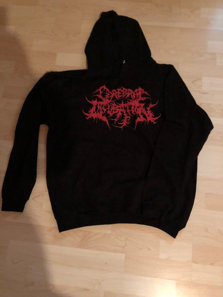 Image of CEREBRAL INCUBATION  Red Logo Hoodie