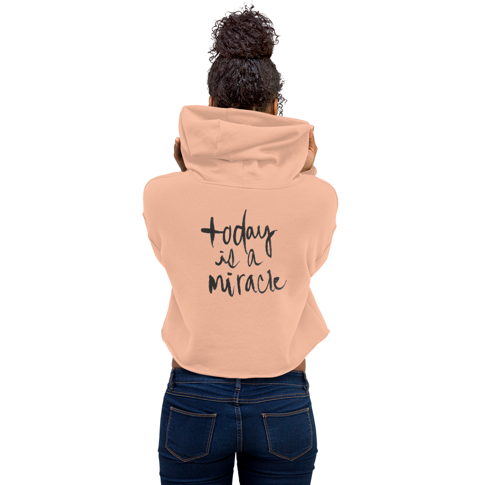 Image of Today Is A Miracle Peach Cropped Hoodie