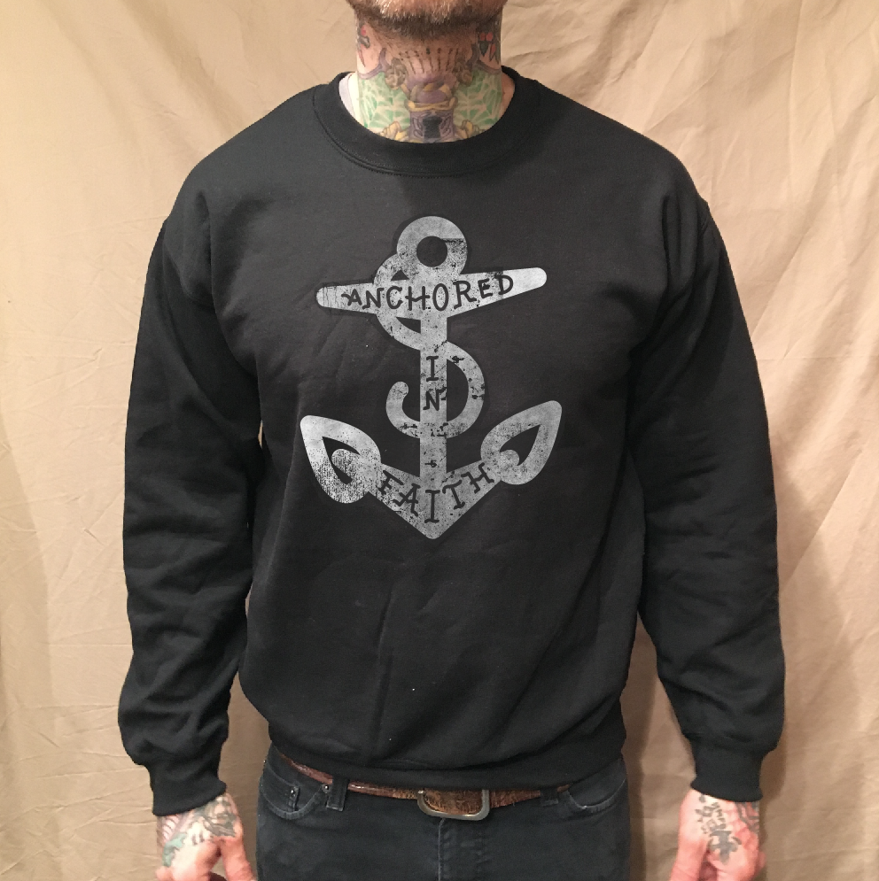 Image of ANCHOR FAITH BLACK CREWNECK SWEATER