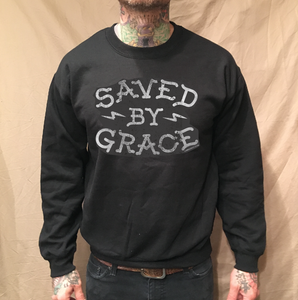 Image of SAVED BY GRACE BLACK CREWNECK SWEATER