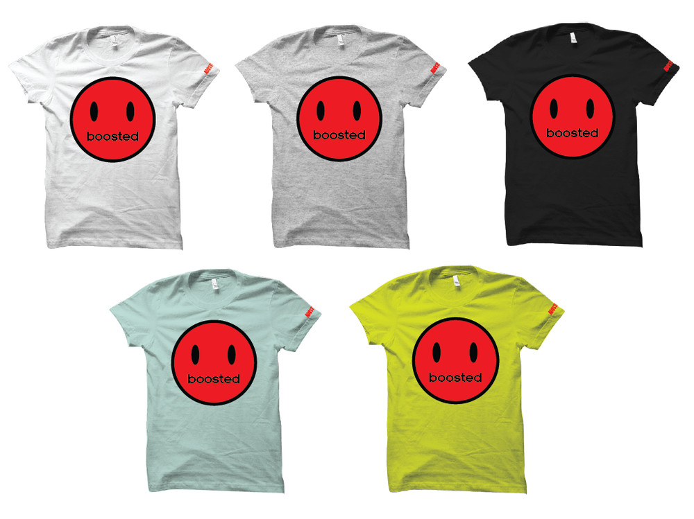 "BOOSTED HAPPY FACE ""RED PRINT"" T-SHIRT"